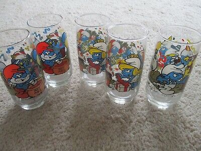 Smurf Glasses 5 Collectibles; Papa Smurf (2), Smurfette (2), Handy Smurf