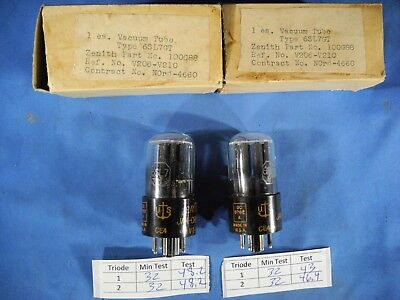 (2) Date Matched Raytheon 6SL7GT VT 229 JAN CRP Vacuum Tubes (TESTED W/ TV-7D/U)