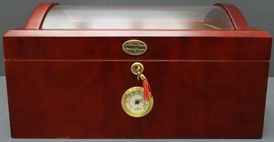 Thompson Humidor Hygrometer Clear Dome Top Cigar Case with Key Cherry Finish