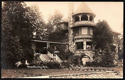 real photo Wequetonsing MI - mansion elaborate home antique postcard RPPC