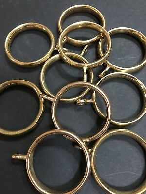 10  X 40mm Solid Brass Curtain Rings (used)