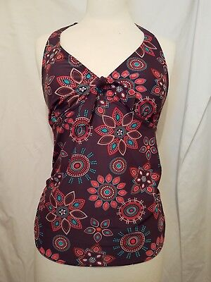 """ M2B"" Halterneck Tankini Top. Size 8. Brown with Multicoloured Pattern."