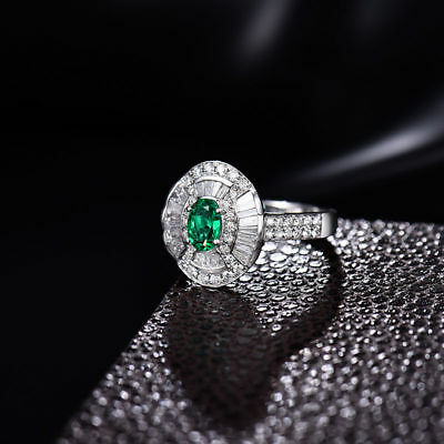 18ct White Gold Stunning Natural Emerald & Top Quality Diamonds Ring VS Beauty