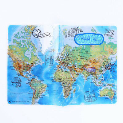 Vintage World Map Passport Cover ID Holder Wallet Protector Case Travel  D