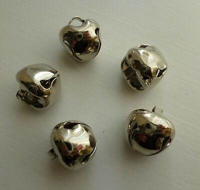 5x Large Silver Jingle Bells for Arts & Crafts ~ 15mm Diameter