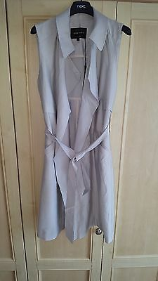 Bnwt River Island Sleeveless Beige Belted Trench Jacket Size 8