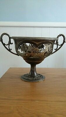 Vintage ~ Ornate ~ Silver Metal ~  Dish/ Bowl
