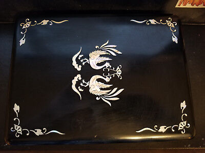 Vintage Chinese Caligraphy set & black Writing Box w/ Mother of Pearl Inlay