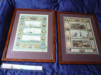 Pair of Victorian 1897 Military Navy Army  Art matching Prints in Frames
