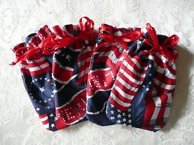 4 PCS  USA Flag Jewelry bags