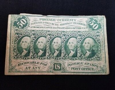 50 Cents Postage Fractional Currency 1st Series July 17, 1862 Straight Edges CIR