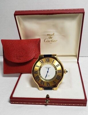 Cartier Gold Plated Travel Alarm Clock with Original Box and Pouch