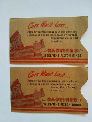 Vintage Pair Of Hastings Steel-Vent Piston Rings Casite Gas Coupon Envelopes Nos