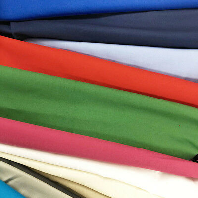 "Stretch Broadcloth Fabric Cotton Polyester Blend 59"" Inch Solid Colors Per Yard"