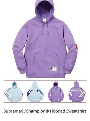 634981705721 Supreme/Champion Hooded Sweatshirt Light Purple Large New In Hand SS18