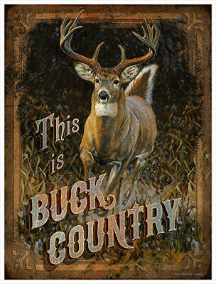 Buck Country 2 Novelty Sign | Funny Home Décor Garage Wall Plastic Gag Gift