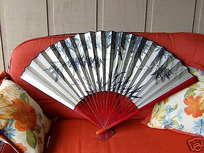 Vintage Japanese large hand painted folding hand fan, Chinese, Oriental CRANES