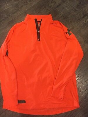 Under Armour Combine Training 1/4 Zip XL Fitted Cold Gear Pullover Orange