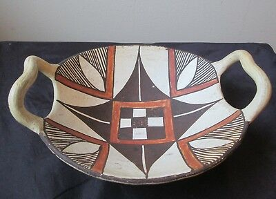 Antique early 1900's Polychrome ACOMA Pueblo Native American Indian Pottery BOWL