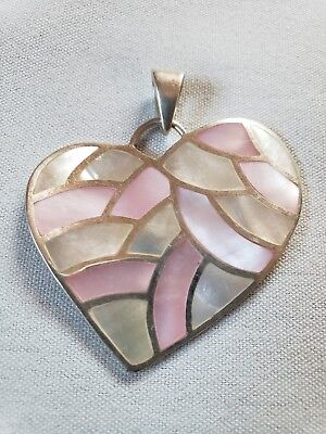 Sterling Silver Vintage 925 Heart Inlay Mother Of Pearl & Pink MOP Pendant 16.1g