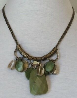 Vintage Southwest Antique Brass Bronze Three 3 Strand Abalone Coin Necklace