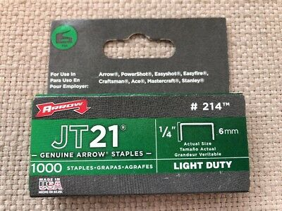 "Arrow Staples  Jt21  1/4"" 6Mm  #214  1000 Count Box  Made In Usa"