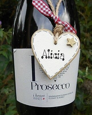 💕New Personalised Valentine gift tag, heart, wine bottle label, cream / gold💕