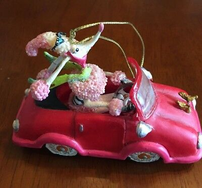 COLLECTIBLE UNIQUE PINK POODLE DRIVING CONVERTIBLE CAR- FREE Shipping