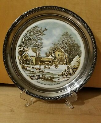 Sterling Signed John Hasselbring Currier & Ives The Farmer's Home -Winter Plaque