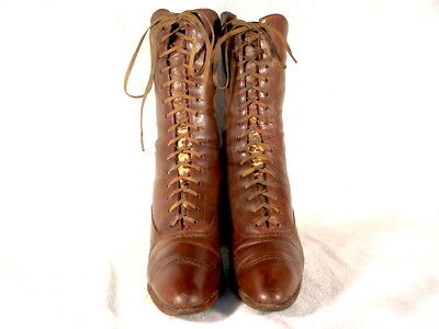 Vintage Edwardian Period Brown Leather Lace Up Boots US 5 1/2