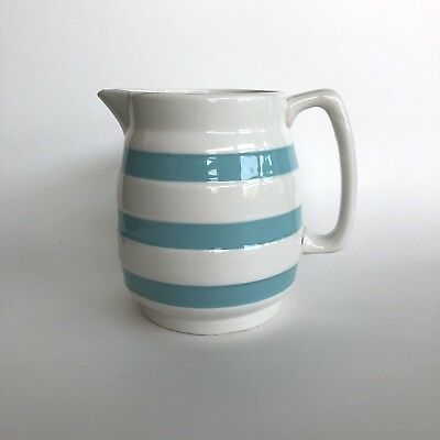Vintage Large Carrigaline Ireland Turquoise Blue Cornishware Jug Pitcher 3 Cup