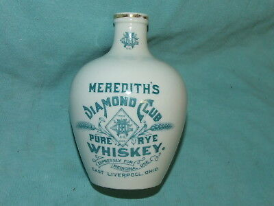 Antique K.T.&K. Meredith's Pure Rye Whiskey Jug Liverpool Ohio Medicinal Use 5""