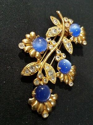 Vintage FLORAL Art Deco Blue Moonglow Cabochon Clear Rhinestone Fur Clip gold