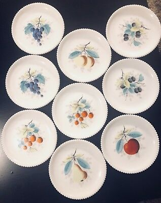 Vintage WestMoreland Milk Glass Hand Painted Fruit Plates Beaded Edge. Set Of 9