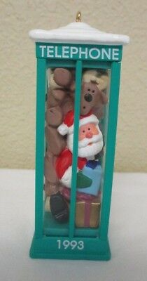 """Hallmark 1993 """"Room For One More"""" Telephone Booth Christmas Ornament no box"""