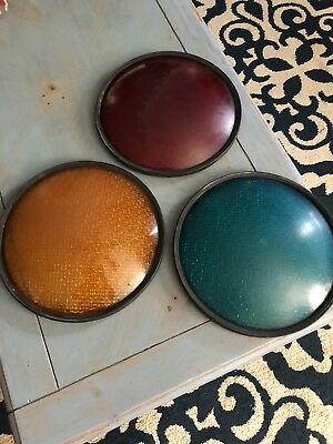 """Traffic Light Signal Lenses Red yellow Green Plastic 12"""" W/ Rubber Gaskets Obo"""