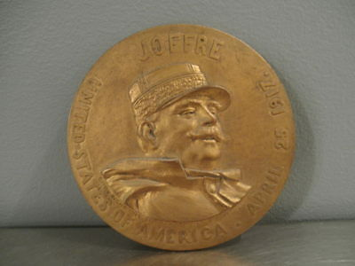 1917 VISIT OF GENERAL JOFFRE TO THE U.S. by RAGOT Milford PA Bronze Medallion