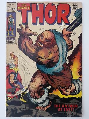 Thor #159 (Vg+ 4.5) Origin Of Donald Black (Thor) Concluded; Kirby Art