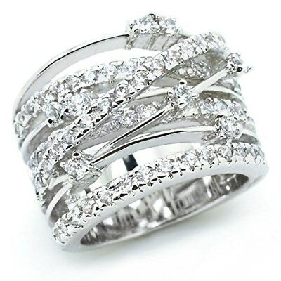 Luxury Women 925 Silver Jewelry Wedding Rings White Sapphire Ring Size 6-10