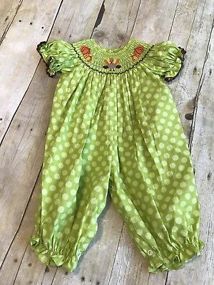 Classic Whimsy Boutique Smocked Pumpkin Turkey Romper Green Girl 6mo Fall