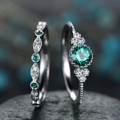 2pcs/set Women's Wedding Set Rings 925 Silver Round Cut Emerald Ring Size 6-10