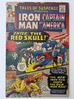 TALES OF SUSPENSE #65 (VG- 3.5) 1st SILVER AGE RED SKULL APPEARANCE; WWII STORY