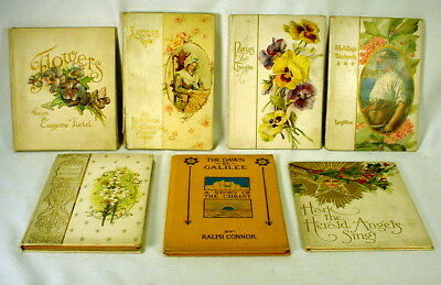 Lot of 7 Antique Books Flowers Laddie Pansies for Thoughts Circa 1897-1914