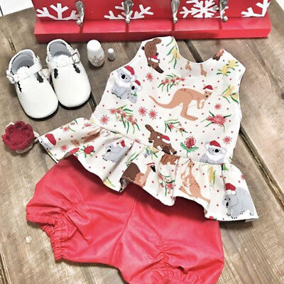 AU Toddler Baby Kids Girl Christmas Tops Dresses Short Pants Outfits Set Clothes