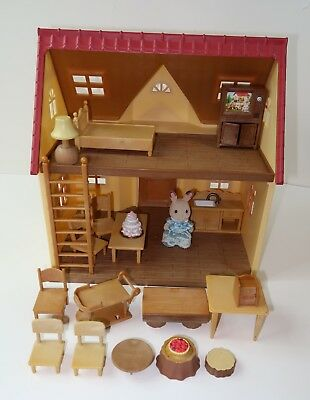 Calico Critters Starter Home w/Mixed Lot of Furniture + Bunny Figure Doll House