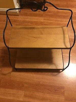 Longaberger Wrought Iron 2-Tier Baker's Rack With Woodcrafts Shelves