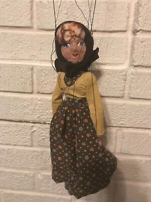 Antique 19Th C. Hand Crafted Clay Face Marionette Puppet Peasant Woman