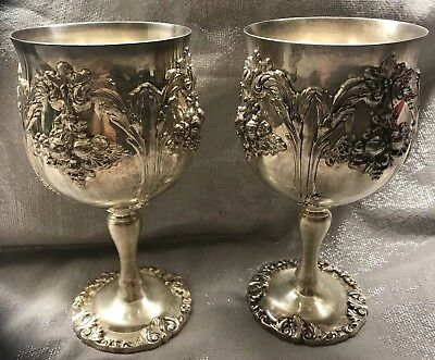 Vintage Reed & Barton Water Goblets renaisssance #6000 Silver Plate