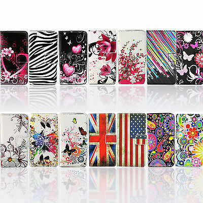 Flip Stand Folding PU Leather Case Card Wallet Cover For iPhone Samsung Sony LG