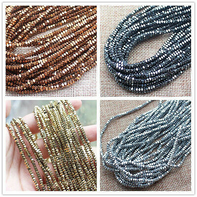 2x3mm Natural Hematite Very Shining Faceted Square Loose Beads 15inch/184pcs
